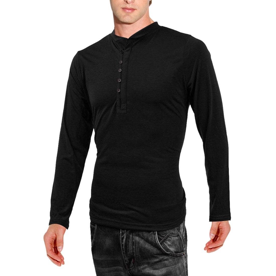Men Buttons Front Round Neck Long-sleeved Modern Shirt Black M