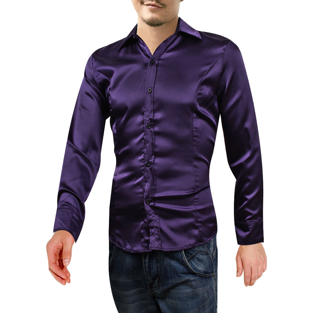 Men Buttons Up Point Collar Long-sleeved Buttons Shirt Purple M
