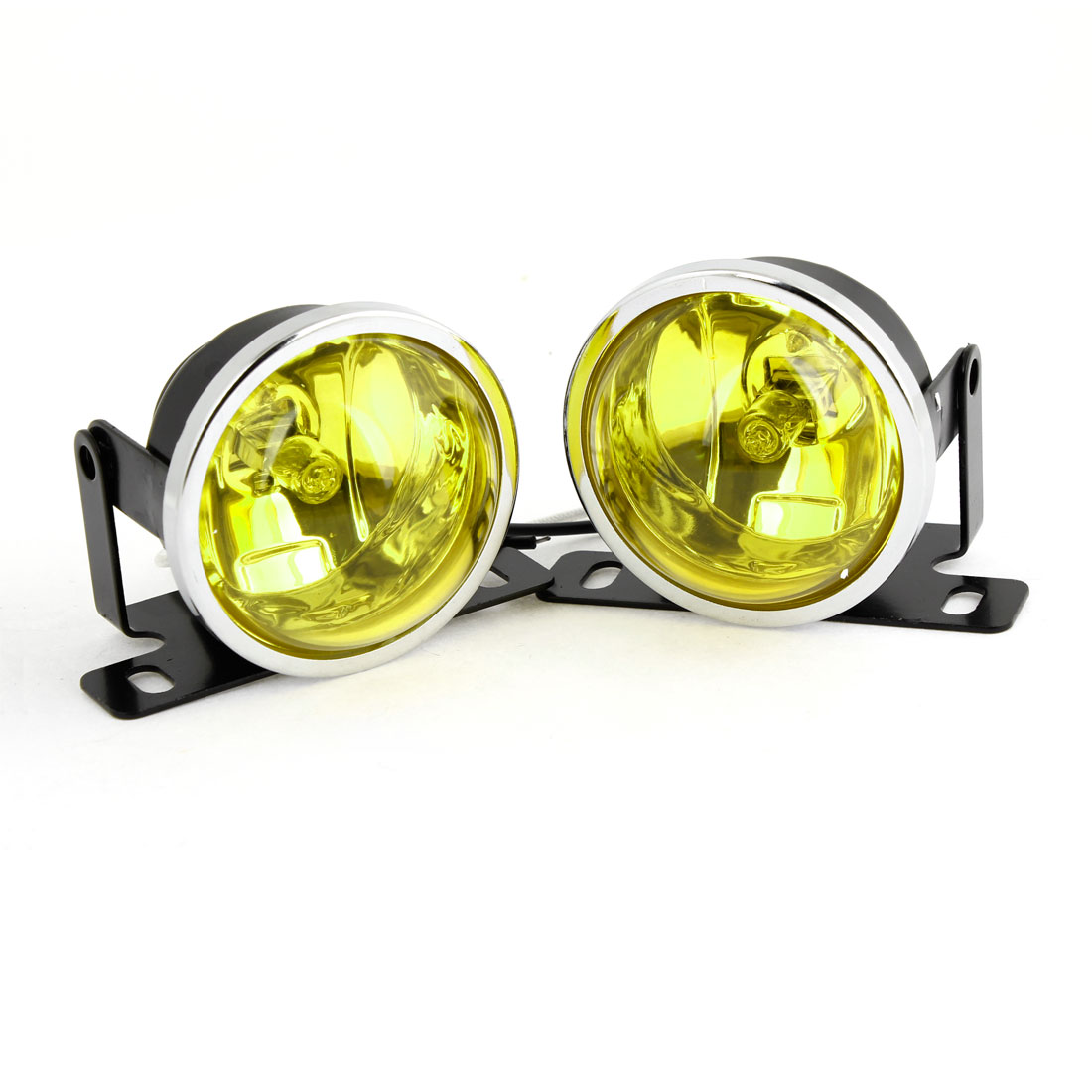 Pair DC 12V 55W Glass Lens H3 Yellow Halogen Light Car Fog Driving Lamp Kit
