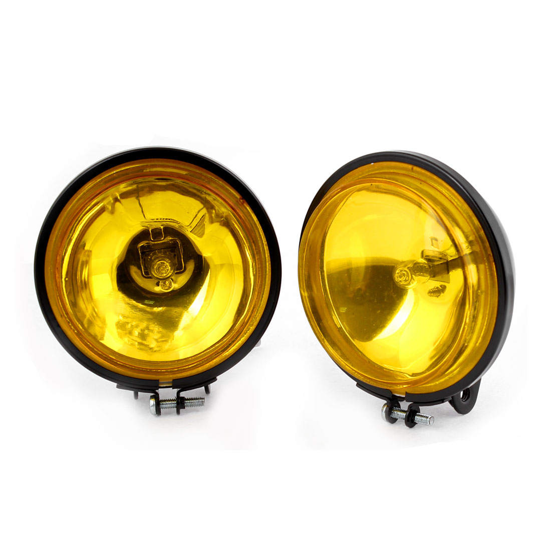 Metal Bracket DC 12V 55W H3 Yellow Led Light Car Round Fog Light 2 Pcs