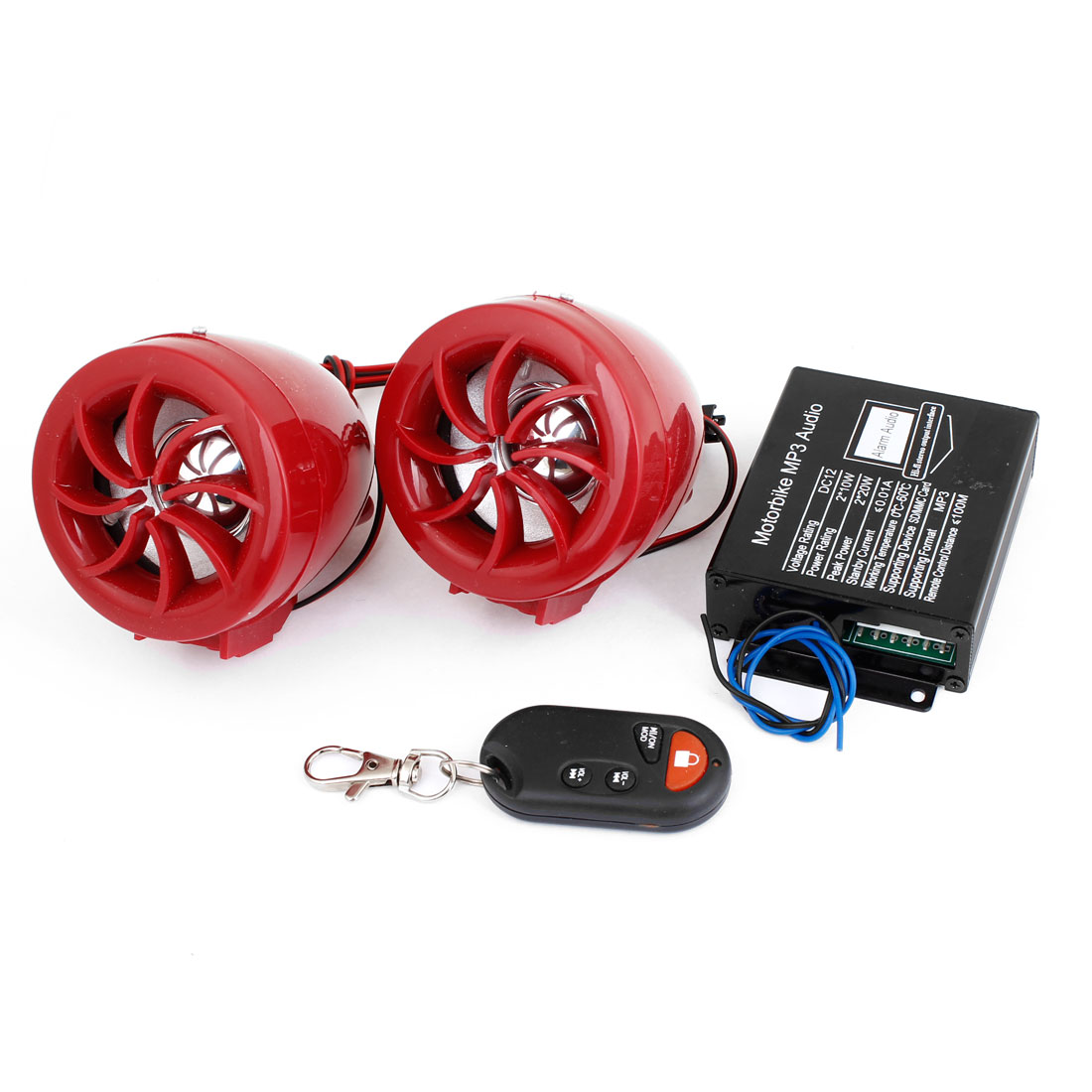 Red Plastic Housing Audio Speaker Sound DC 12V for Motorbike