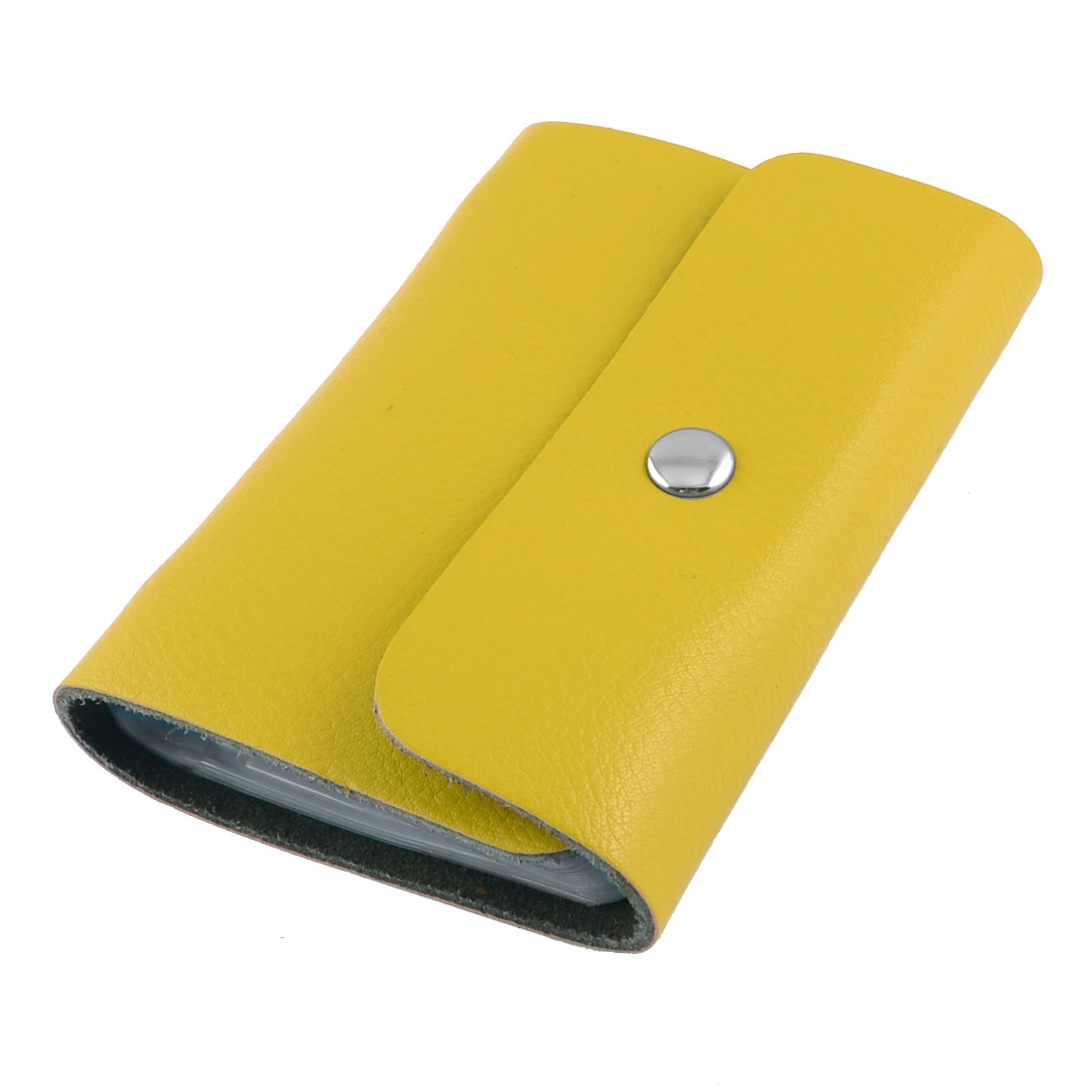 Yellow Litchi Pattern Faux Leather Press Stud 26 Sheets Credit Card Holder