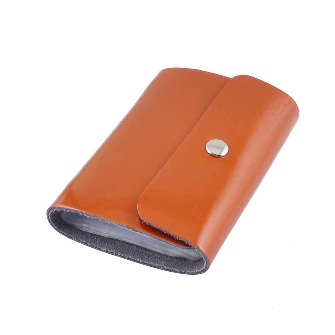 Orange Faux Leather Press Stud Button 26 Sheets Credit Card Holder