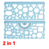 2 in 1 Clear Blue Plastic Stationery Measuring Drawing Drafting Geometric Template Ruler Guide