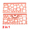 2 in 1 Orange Plastic Stationery Measuring Drawing Drafting Geometric Template Ruler Guide