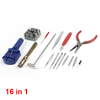 16 in 1 Watch Repair Tweezers Hammer Tools Screwdriver Set for Watchmaker