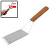 "Wood Handle Silver Tone Stainless Steel Smooth Wide Spatula 11.2"" Long"
