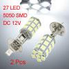 2 Pcs H1 White 27 5050 SMD LED DRL Fog Light Bulb Lamp