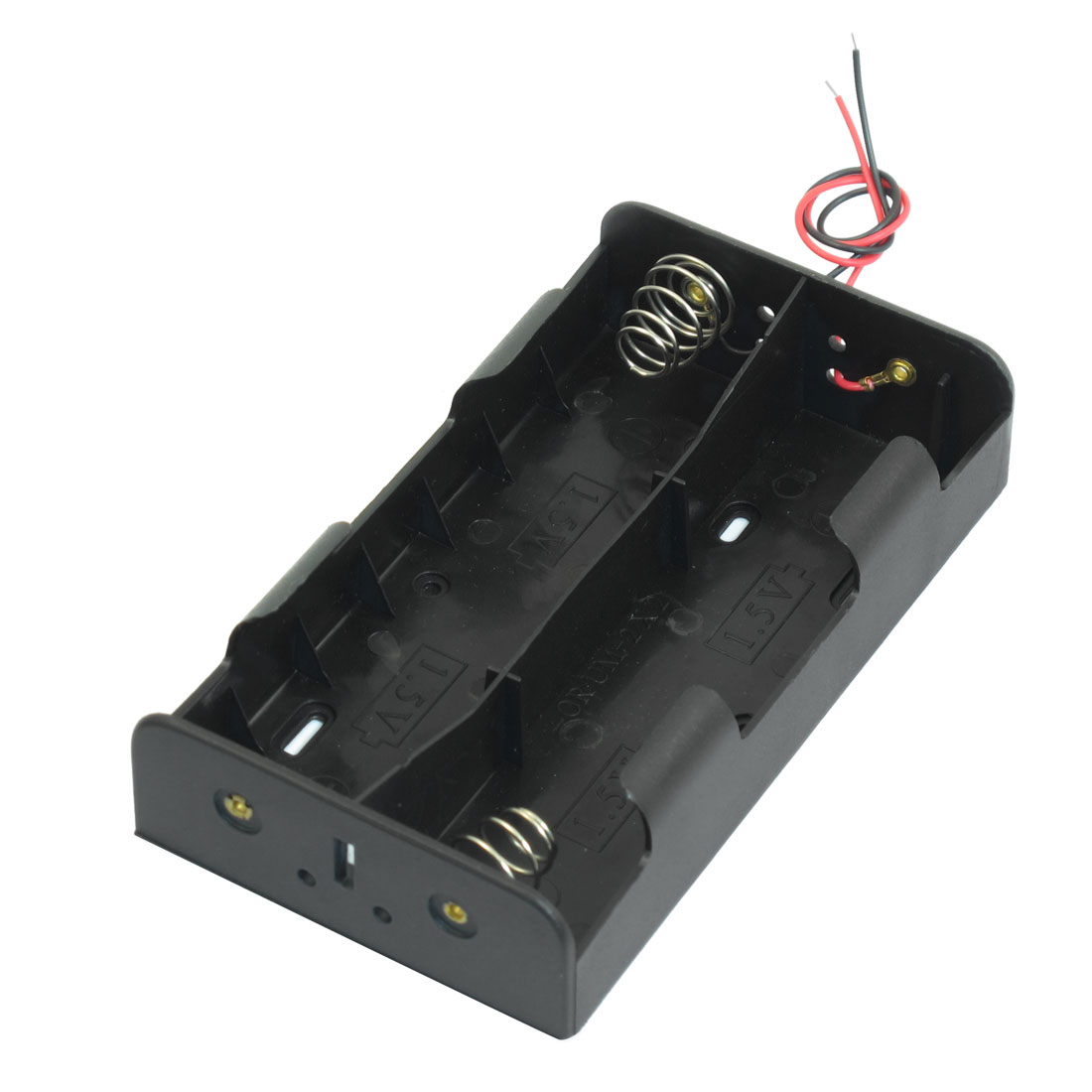 Black Plastic 4 x 1.5V D Battery Holder Box Case w Wire Leads