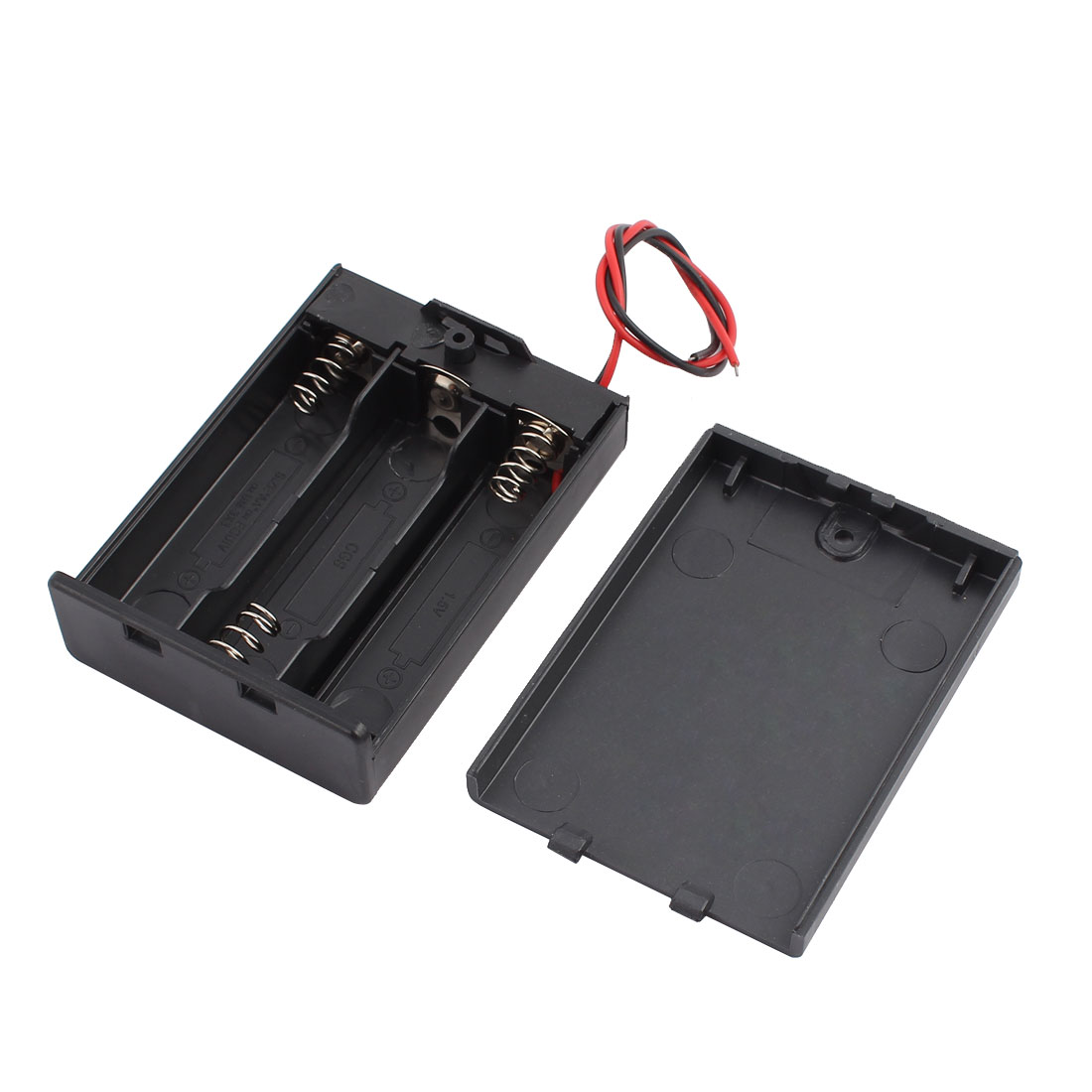 Two Wire Leads Black 3 x 1.5V AA Battery Holder Case w Cover