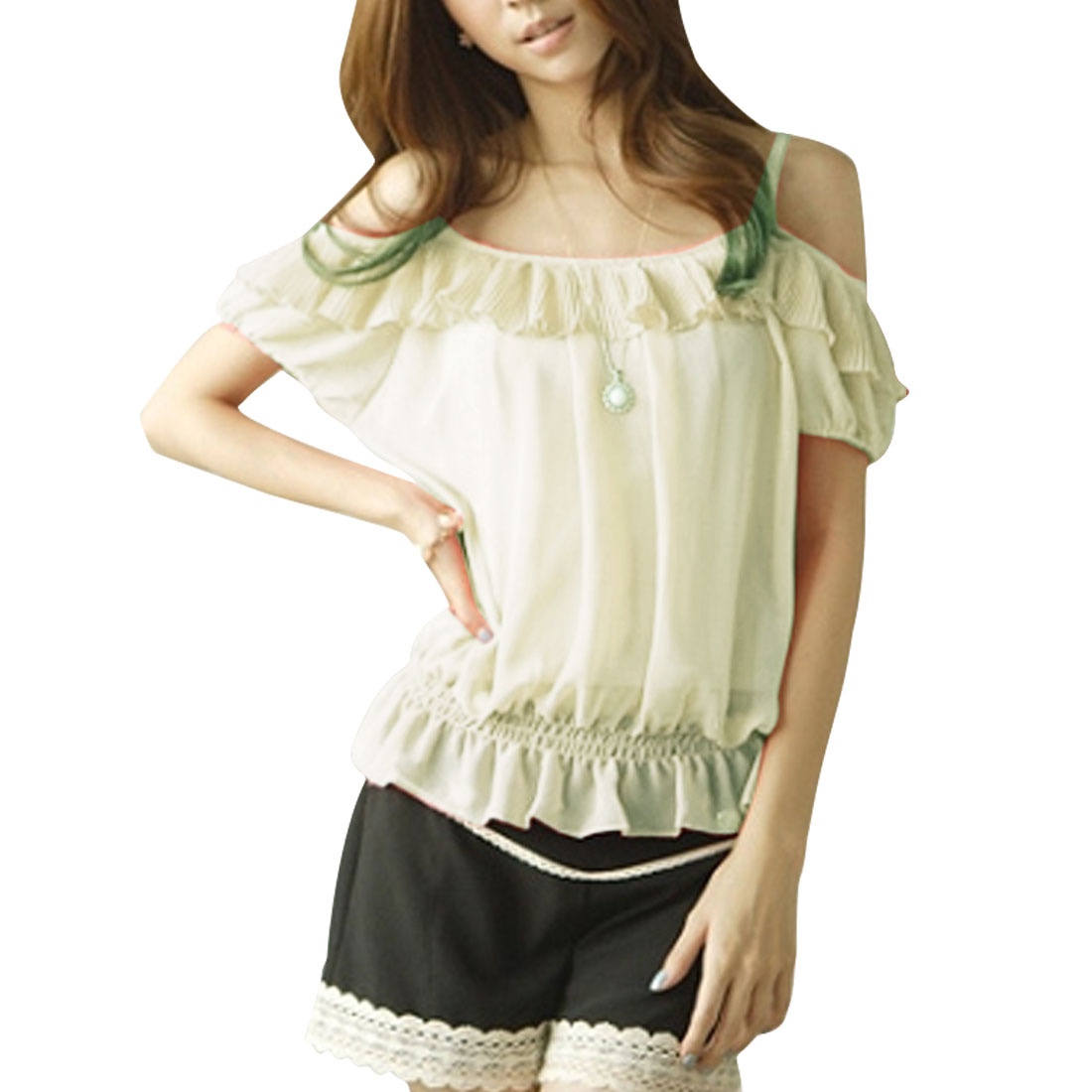 Ladies Beige Shirred Detail Semi Sheer Elastic Waist Chiffon Shirt XS