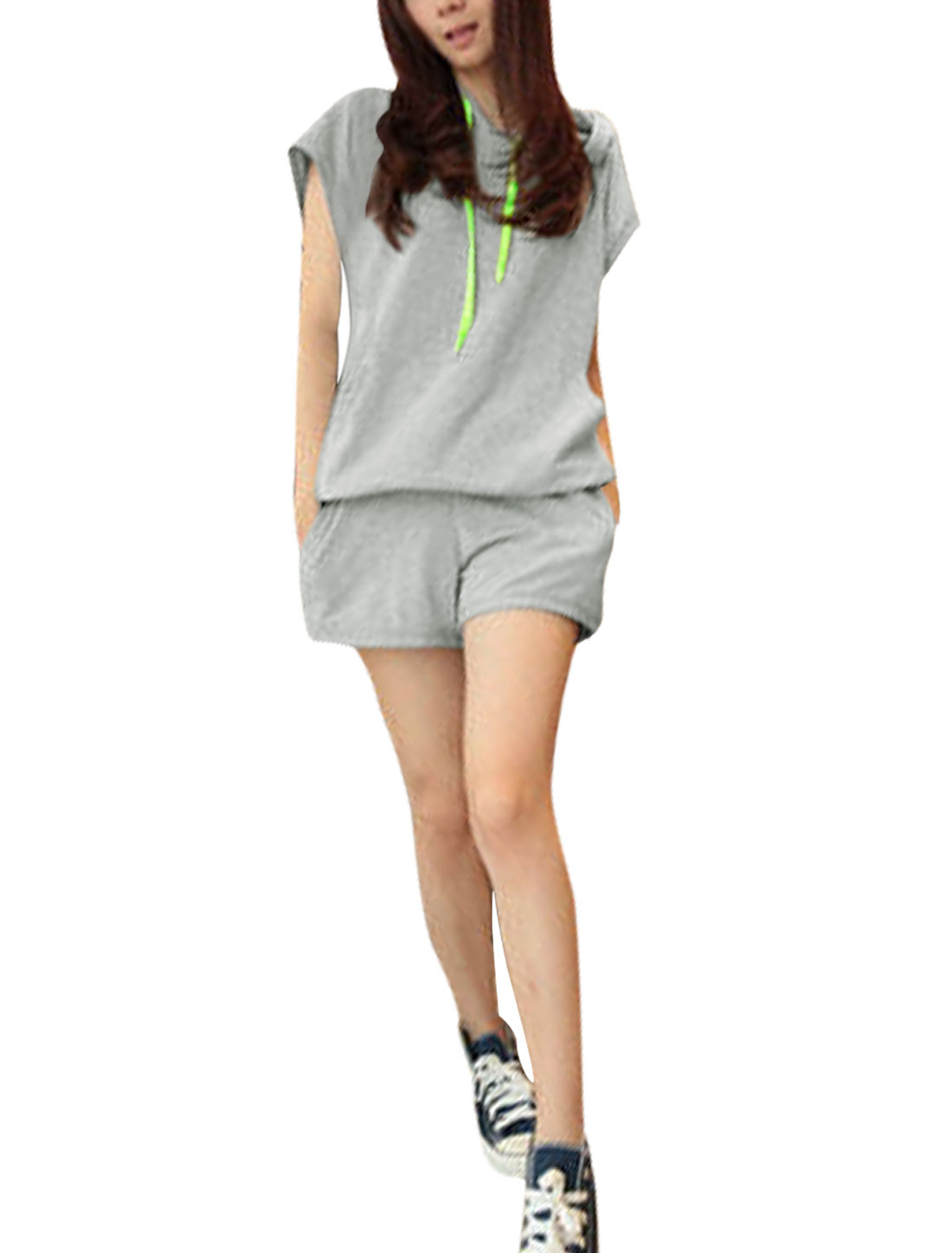 Women Stretchy Hem Short-sleeved Hoody w Pockets Shorts Gray XS