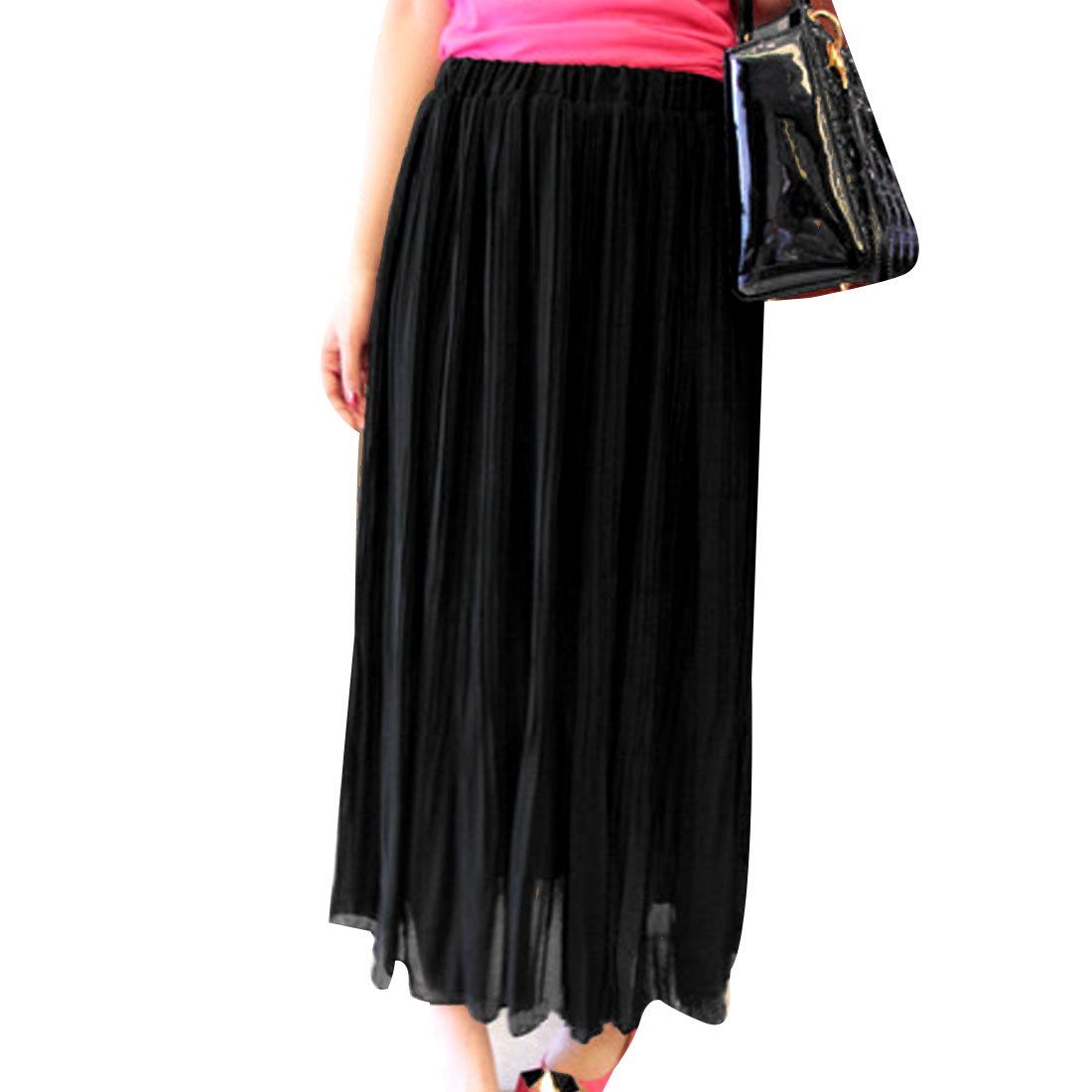 Ladies Black Elastic Waist Solid Color Summer Chiffon Skirt XS