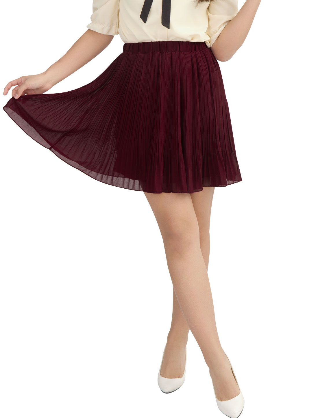 Lady Burgundy Stretchy Waistband Pleated Mini Skirt XS