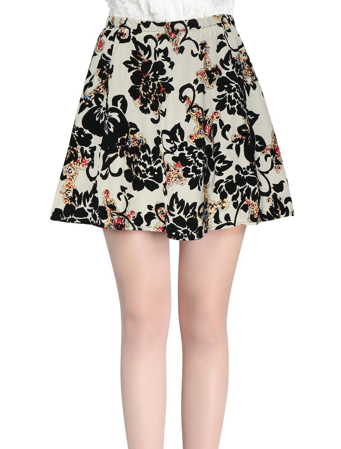 Ladies White High Rise Flower Detail Casual Mini Skirt XS