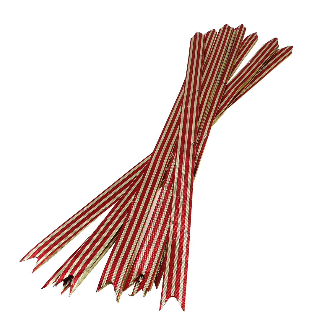 10 Pcs 390mm x 18mm Red Gold Tone Glittery Poly Gift Wrap Pull Bow Ribbons