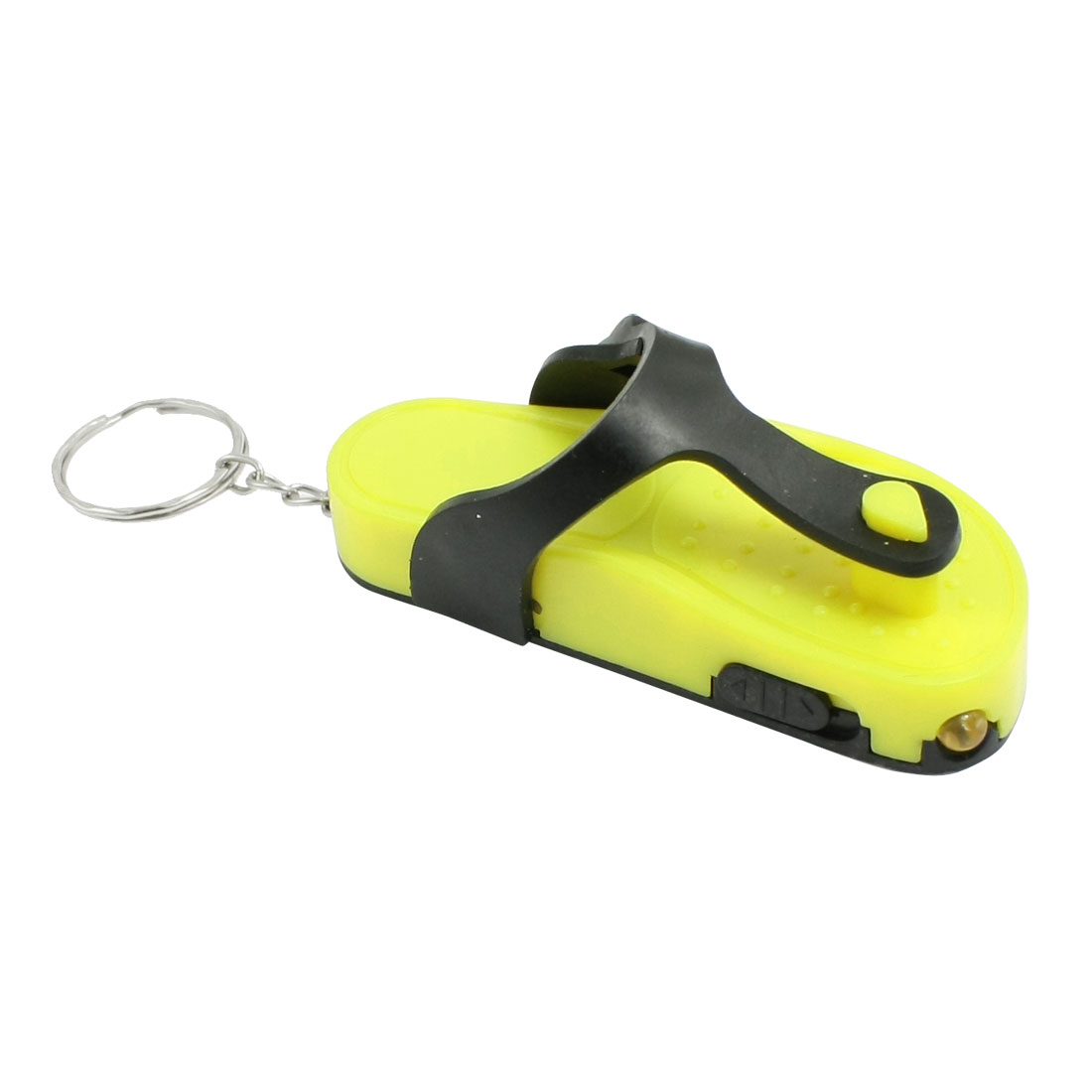 Yellow Black Flip-flops Plastic Pendant LED Flashlight Keyring Key Chain
