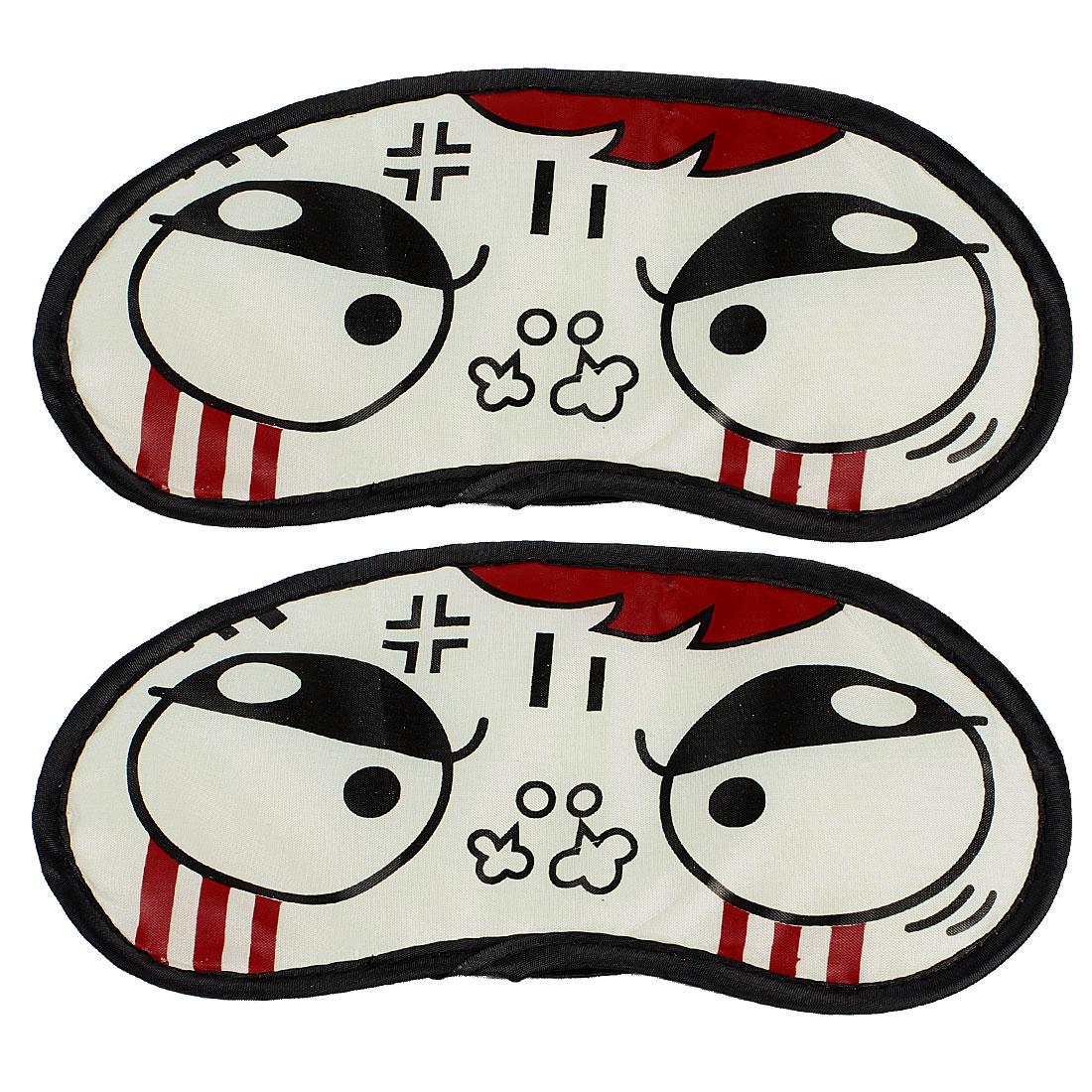 Cartoon Angry Expression Pattern Elastic Band Eye Shade Eyes Mask White 2 Pcs