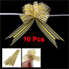 10 Pieces 800mm x 45mm Gift Wrap Gold Tone Clear Glittery Pull Bow Ribbon