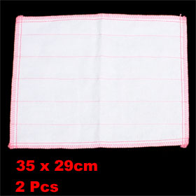 Household Pink White Stripes Print Textured Cleaning Cloth Towel Scouring Pad 2 Pcs