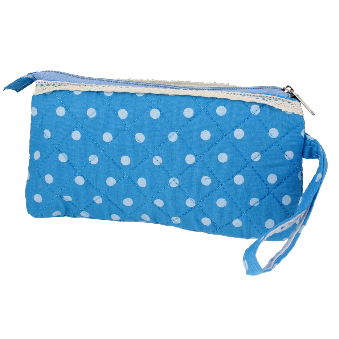 "7.3"" Length White Dotted Blue Zip Up Purse Bag w Wrist String for Women"