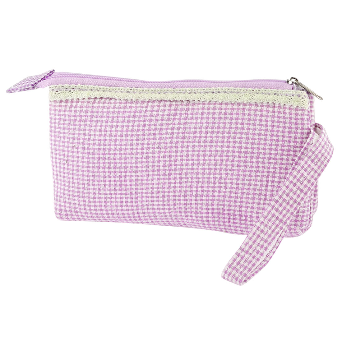 Ladies Pink White Grid Pattern 3 Compartments Purse Wrist Bag Pouch