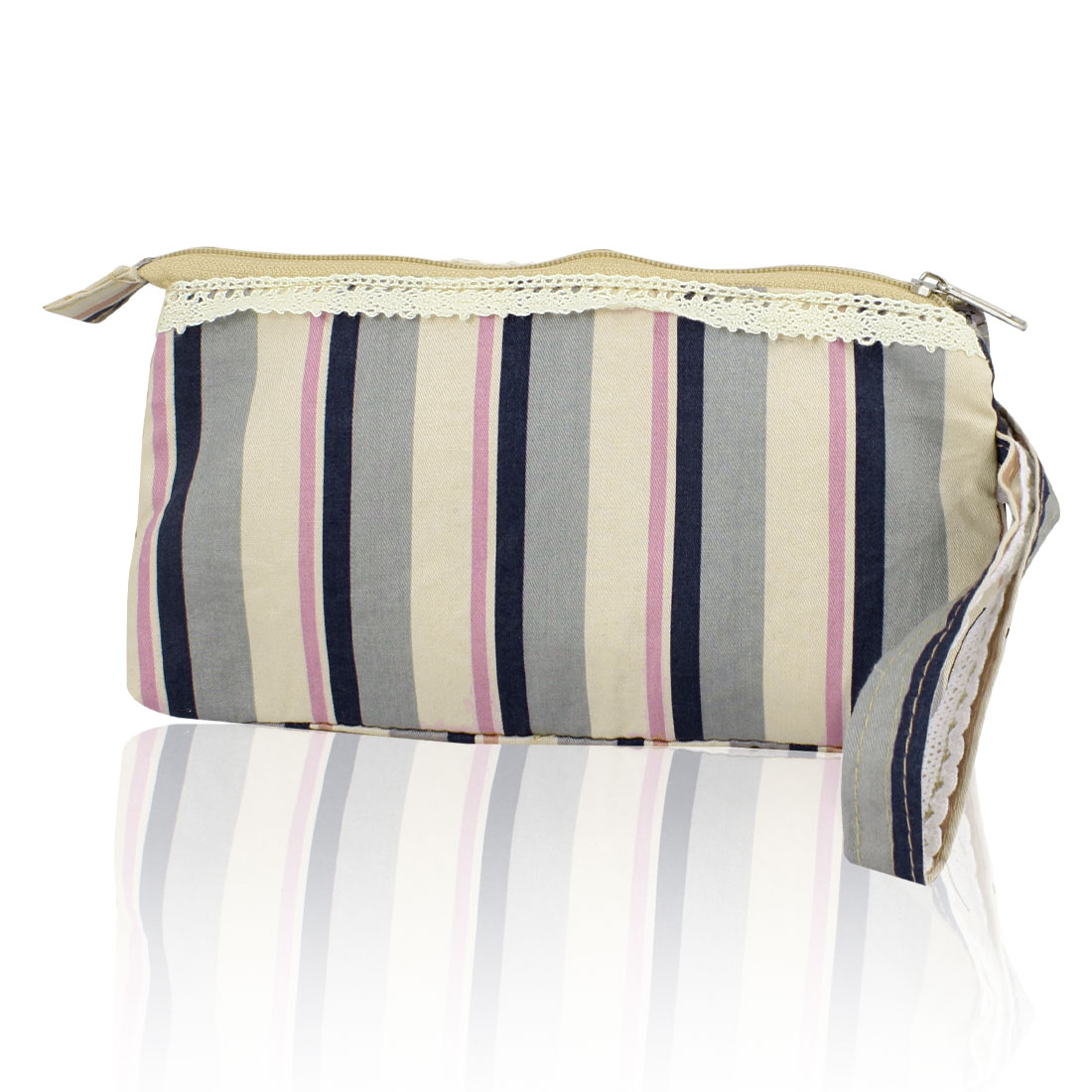 Women 19cm Long Tricolor Stripe Pattern Zip Up Purse Wallet w Wrist String