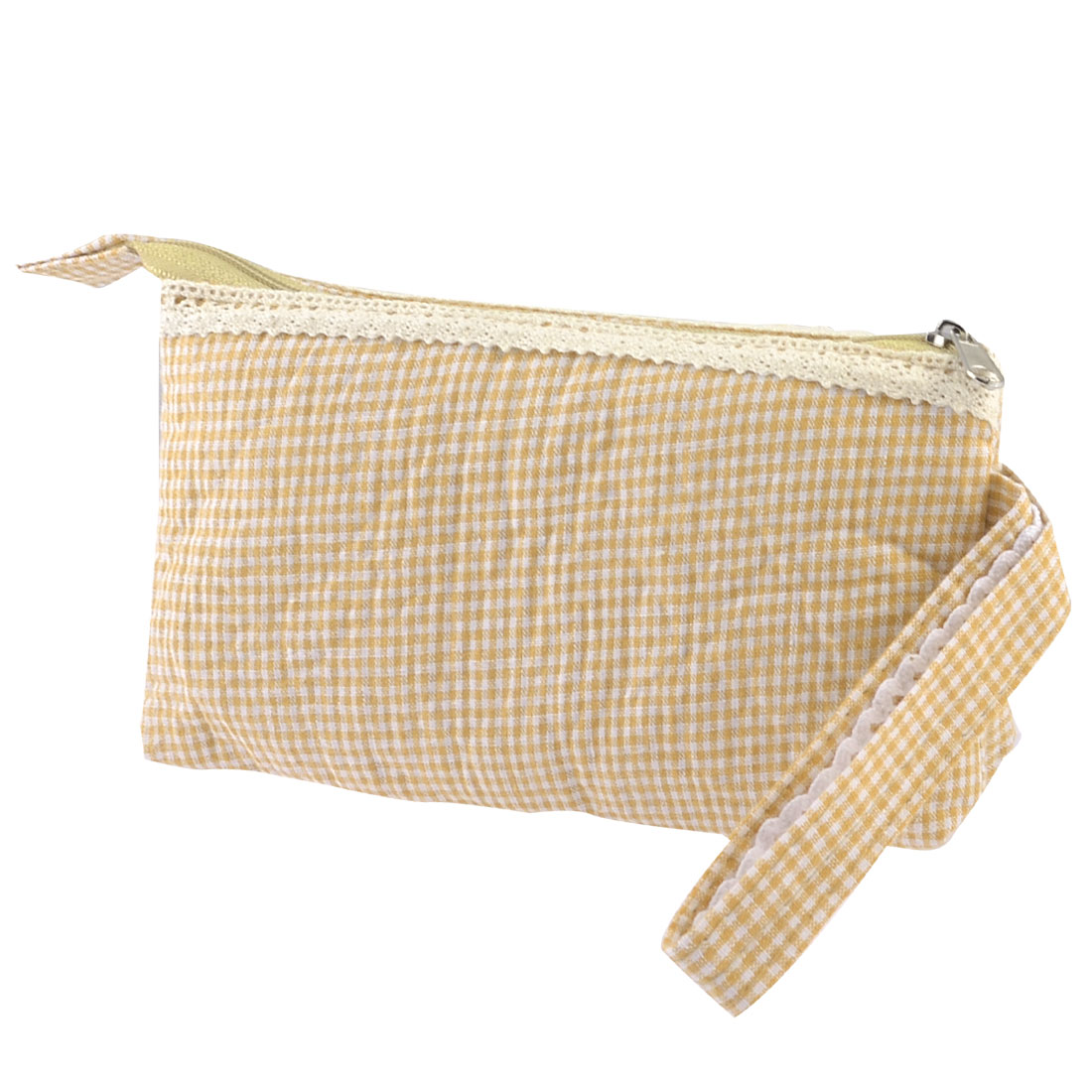 Beige White Checked Print Nylon Lining Zipper Closure Lace Wrist Pouch