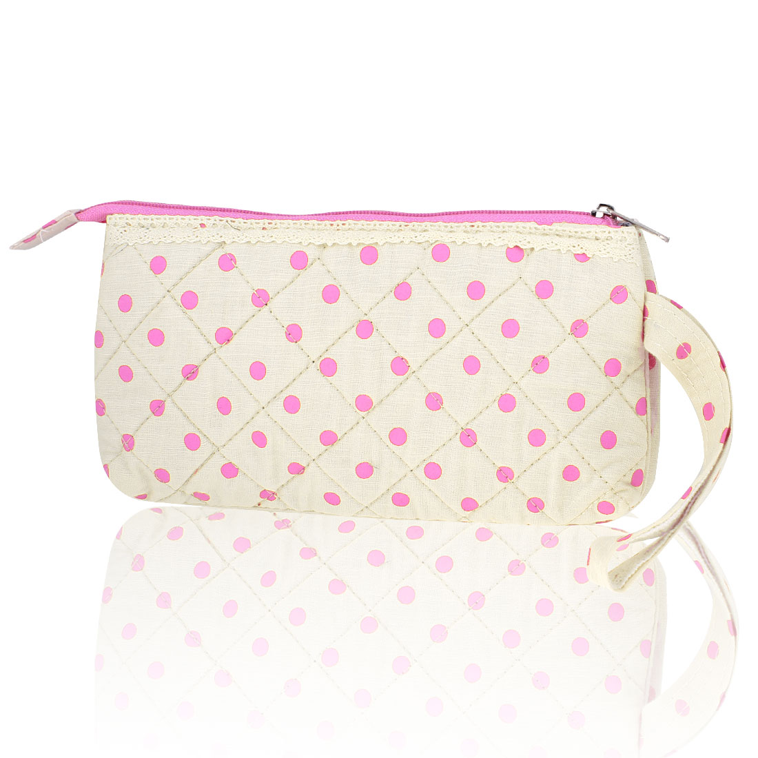 Pink Ivory 3 Compartments Zippered Wrist Wallet Cash Holder w String for Lady