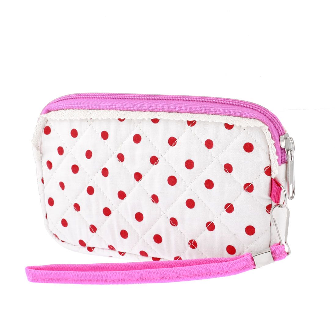 Red Dotted Pattern Nylon Zippered White Purse Phone Pouch Bag