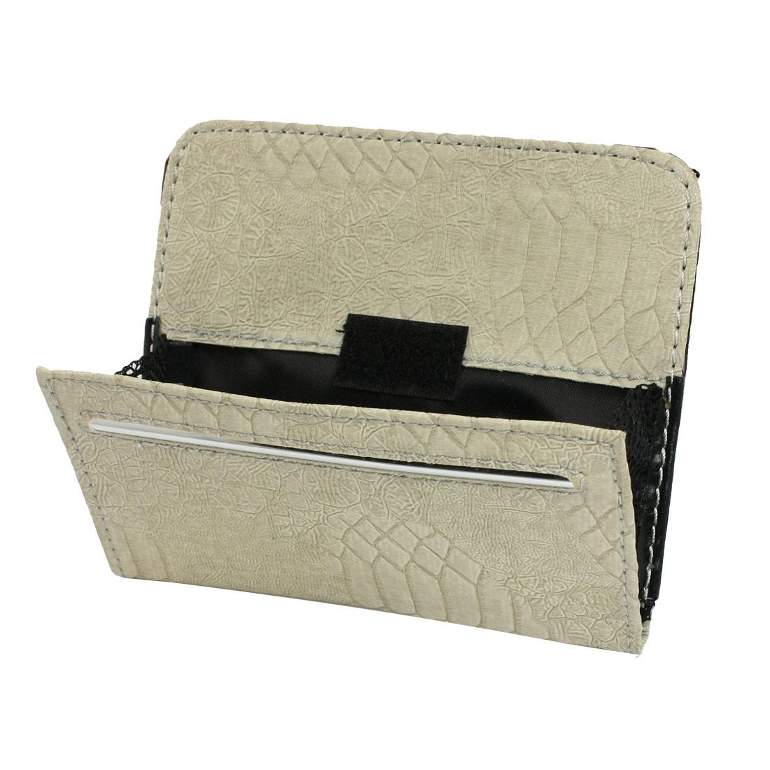 Beige Faux Leather Nylon Interior Storage Bag Holder for Auto Car