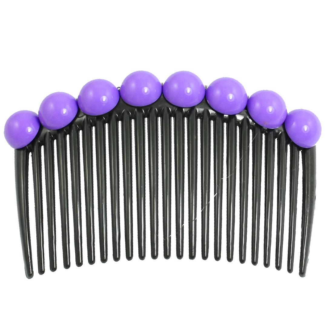 Woman Purple Plastic Bead Beaded Decoration Black Comb Hair Clip Pin
