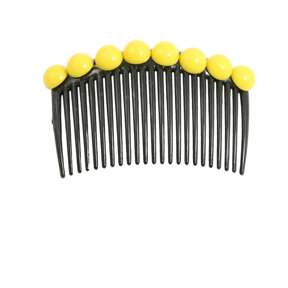 Yellow Plastic Bead Beaded Decoration Black Comb Hair Clip Pin for Woman Lady