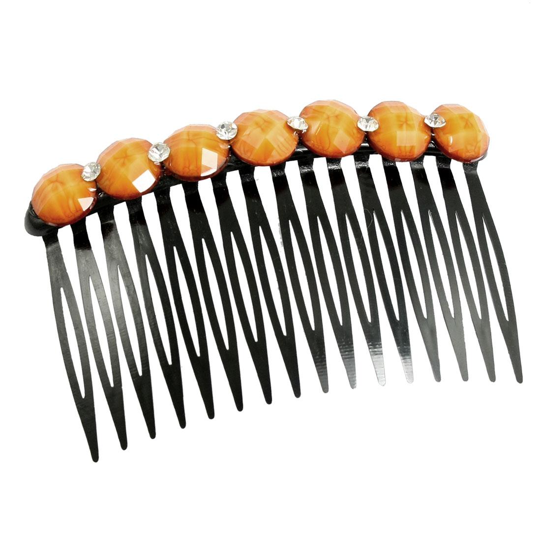 Lady Bling Bling Rhinestone Accent 16 Teeth Comb Hair Pin Hairclip Orange Black