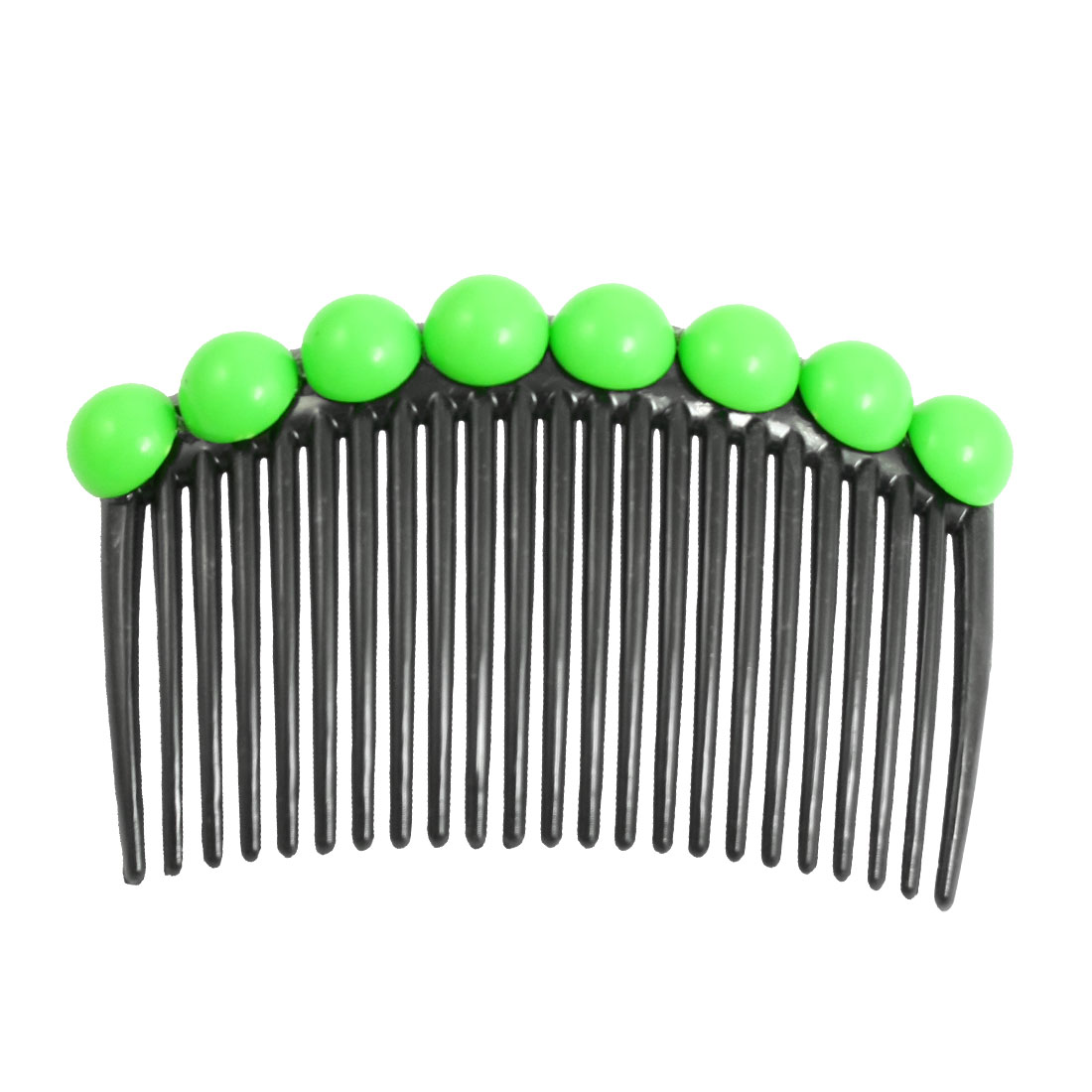 Green Plastic Bead Decor Black 23 Toothed Hair Clip Comb for Women Lady