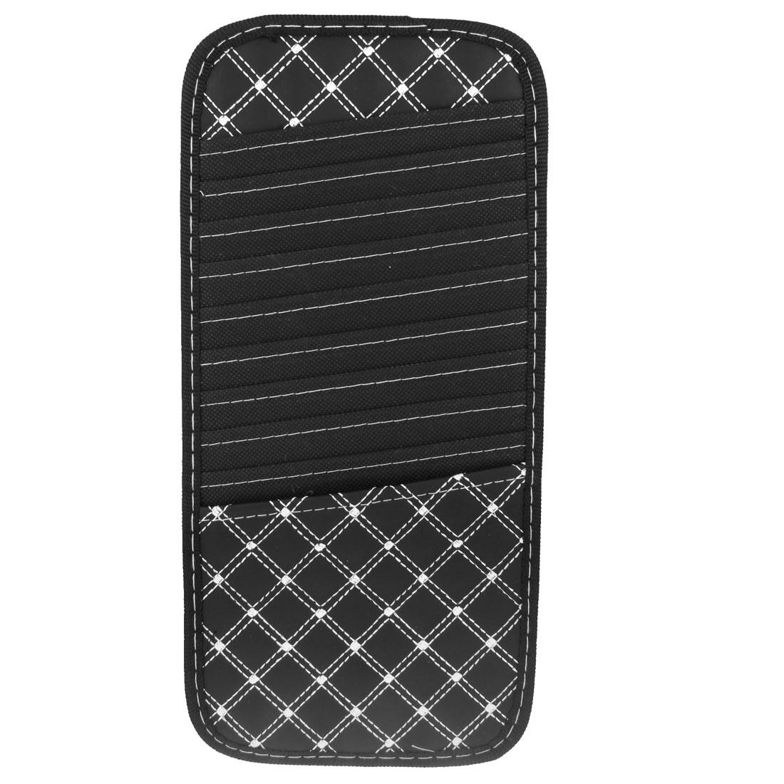 Car Nylon Plaid Sun Visor Holder 9 Capacity Disc CD DVD Storage Black White
