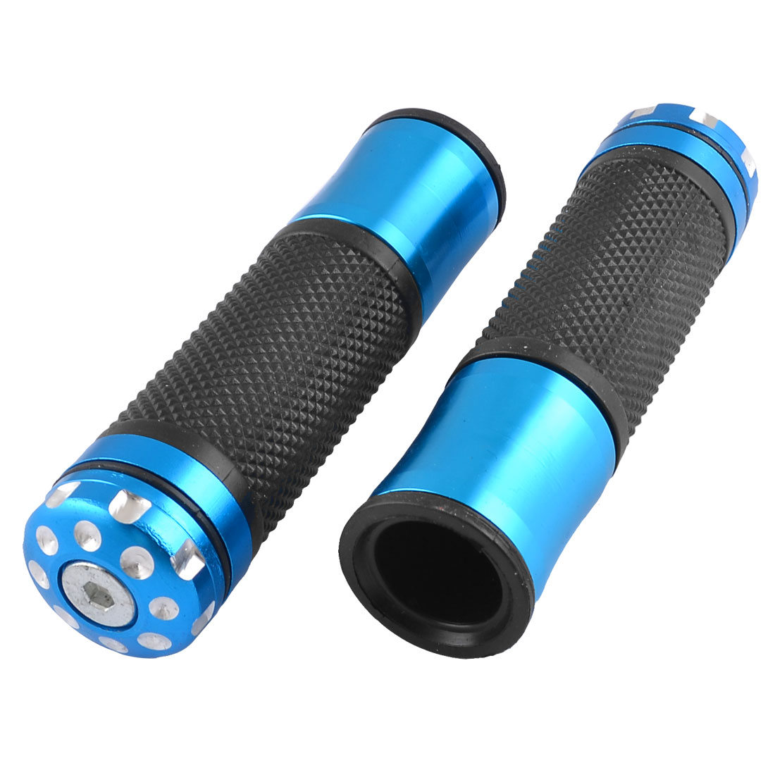 Pair Rubber Nonslip Checkered Print Bicycle Bike Handlebar Grip Cover Blue Black
