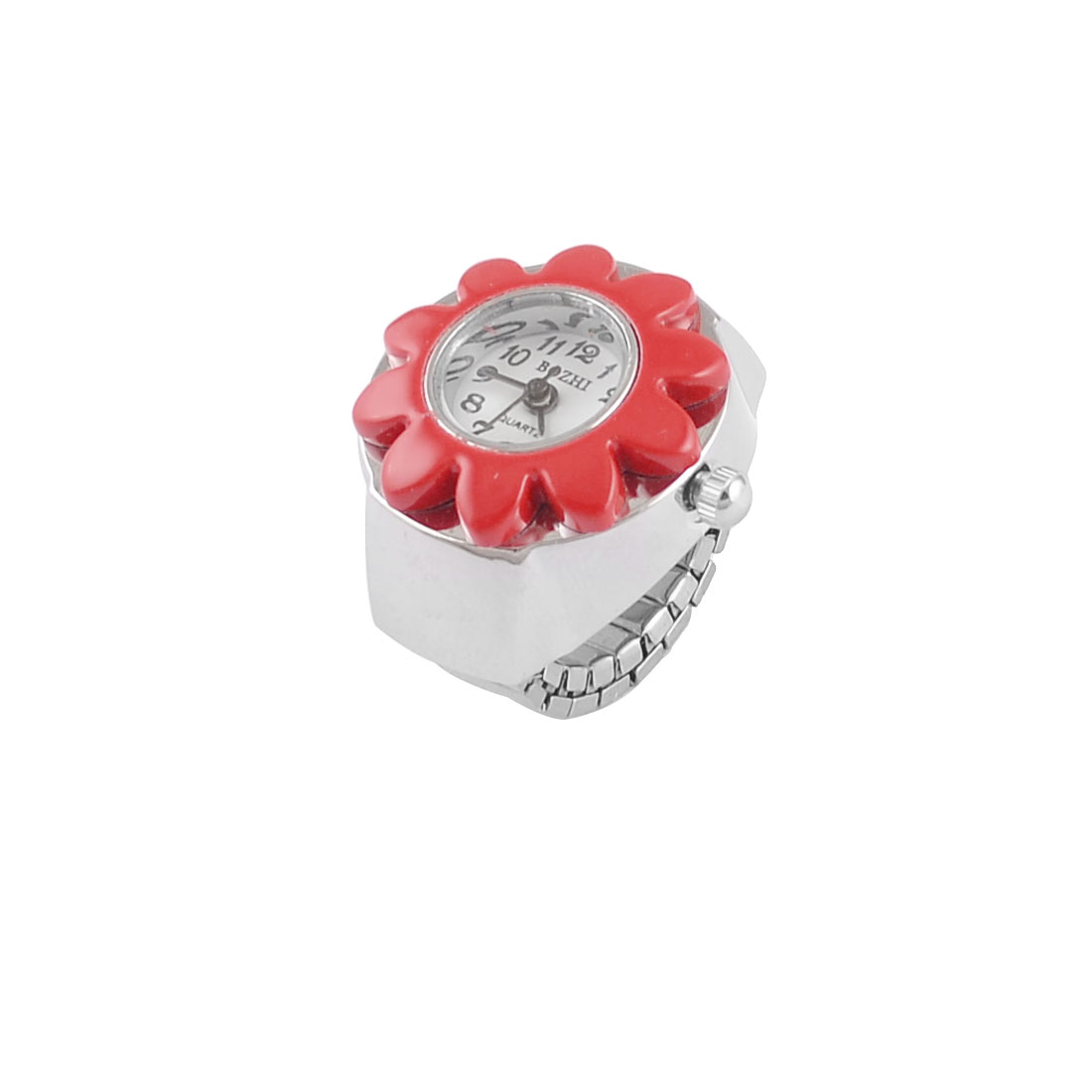 Woman Red Silver Tone Stretch Band Sun Flower Arabic Number Dial Finger Ring Watch