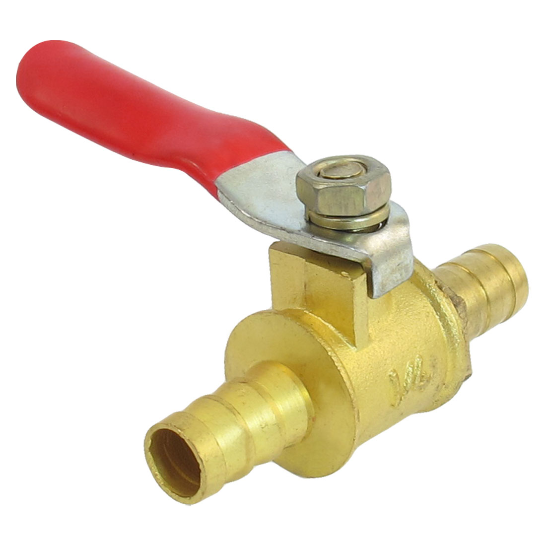 Full Port 8mm Dia. Barb Hose Red Lever Handle Brass Ball Valve