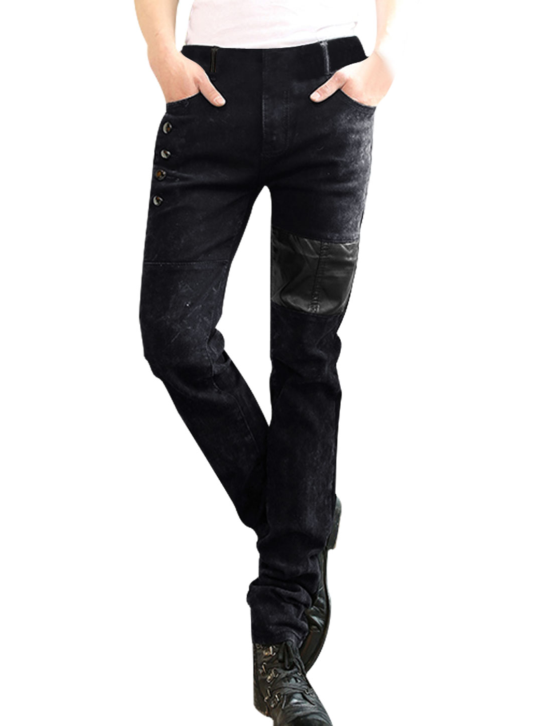 Mens Black Faux Leather Panel One Button Zip Fly Jeans W33