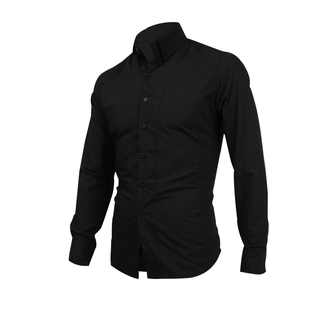 Mens Black Long Sleeves Single Breasted Autumn Casual Shirt M