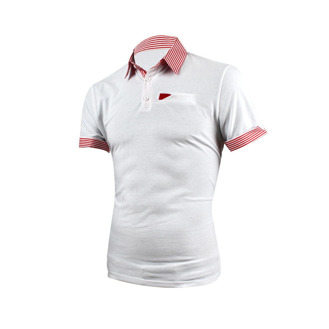 Men Stripes Prints Cuff Short-sleeved Buttons Up Front Polo Shirt White M
