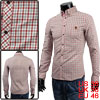 Men Point Collar Singled Breasted Long Sleeve Chest Pocket Plaids Casual Shirt Pink S