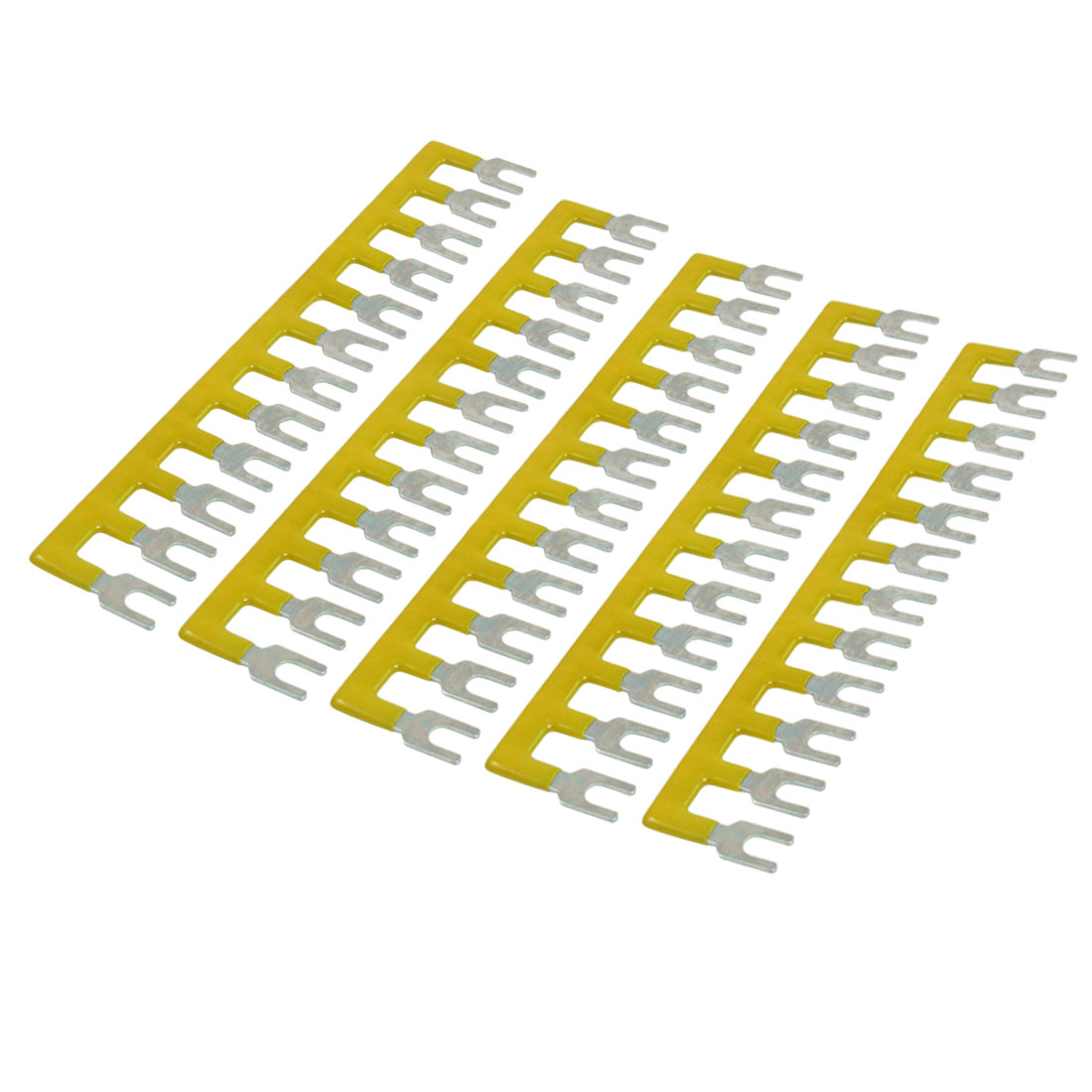 400V 10A 12 Postions Pre Insulated Terminal Barrier Strip Yellow 5 Pcs