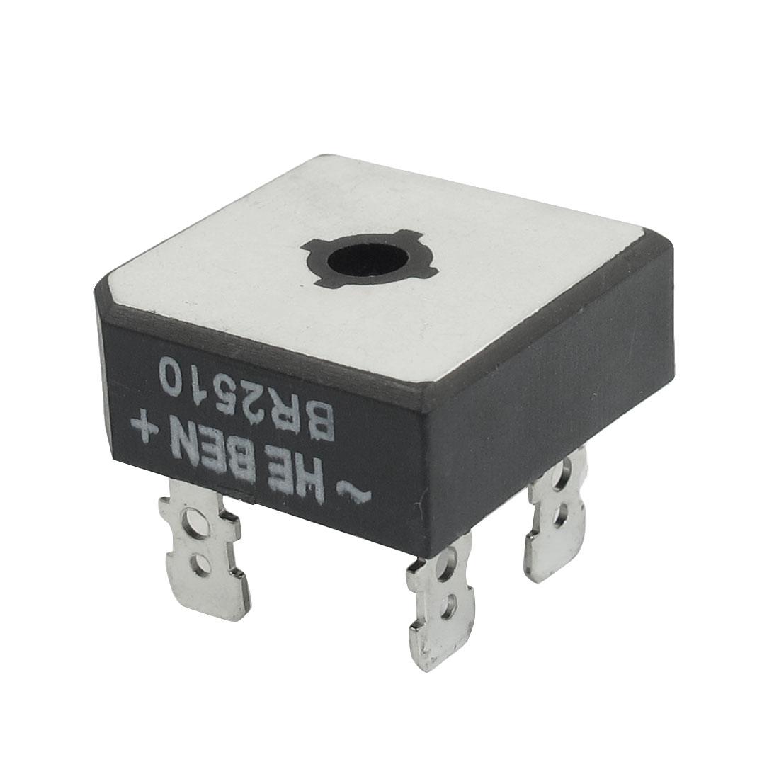 BR2510 Silver Tone Black Plastic Case Single-Phase Bridge Rectifier 1KV 25Amp