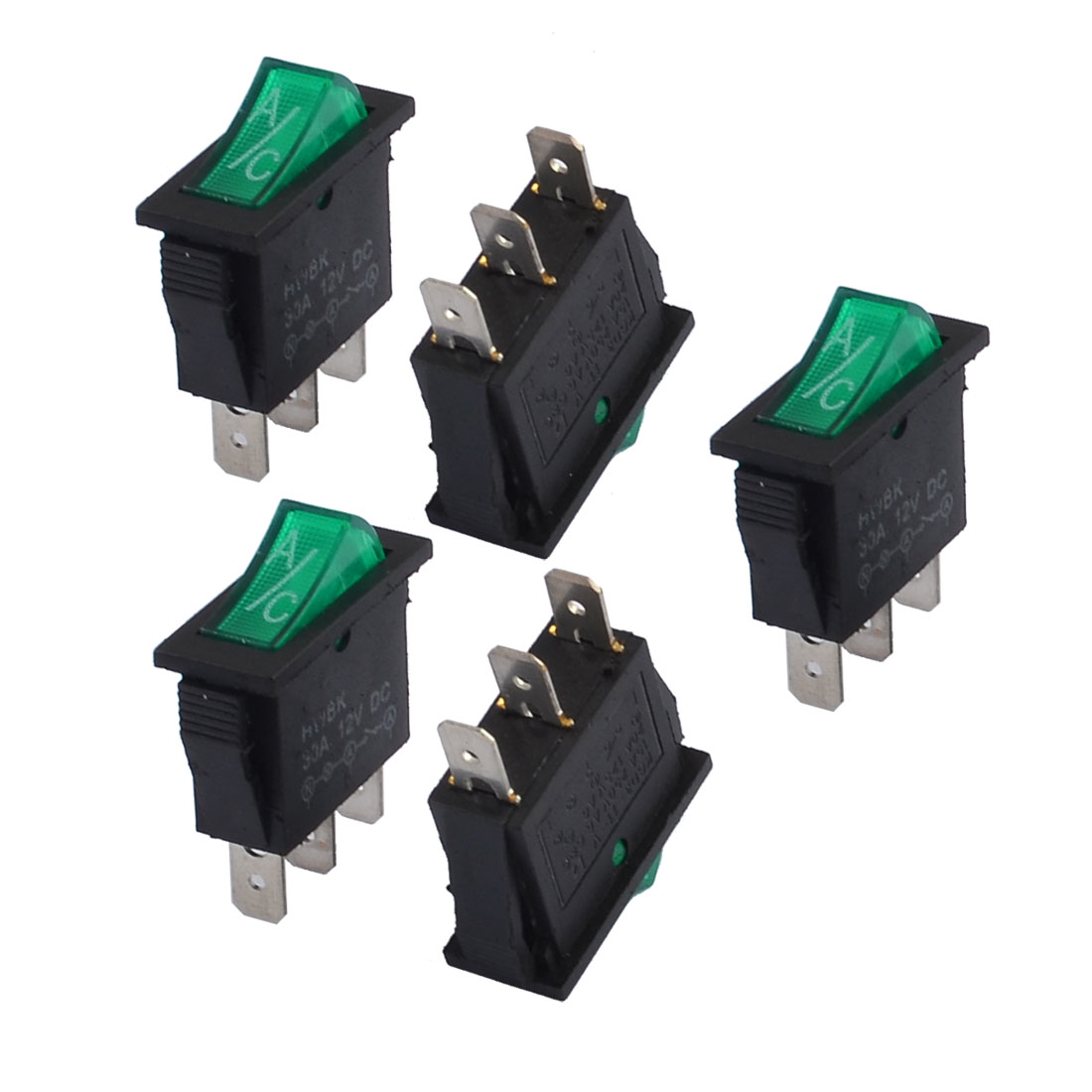 5 Pcs 15A/250V 20A/125V Green Light Illuminated 3 Pin SPST ON/OFF Boat Rocker Switch