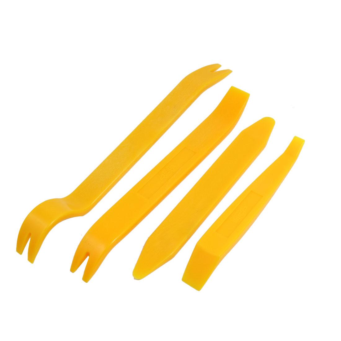 4 Pcs Yellow Hard Plastic Vehicle Car Audio System Repair Dismantle Tools