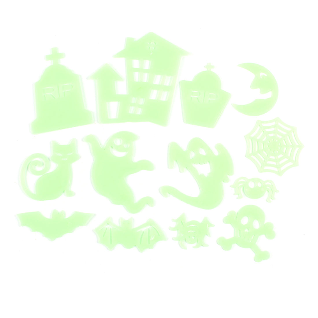 13 in 1 Light Green Wall Mount Ceiling Plastic Halloween Design Stickers