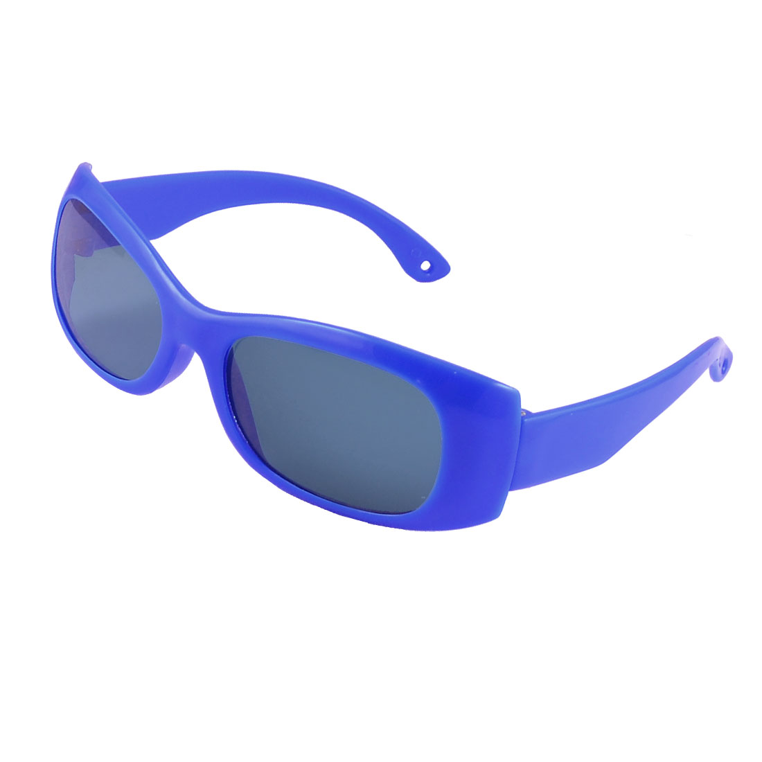 Dark Blue Single Bridge Plastic Rimmed Clear Colored Lens Leisure Sunglasses