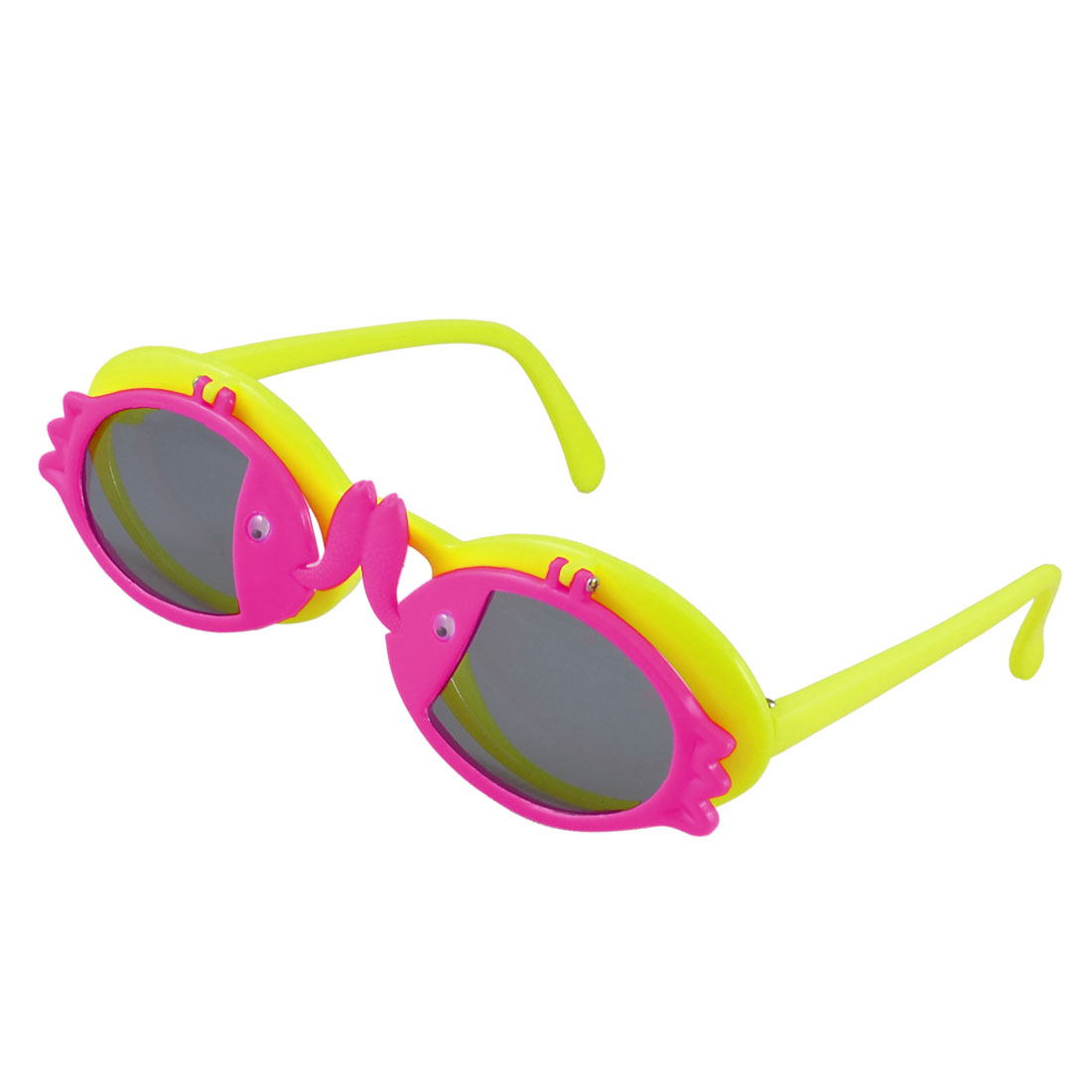 Kid Fuchsia Fishes Decor Yellow Ellipse Shape Two Layer Lens Flip Up Sunglasses